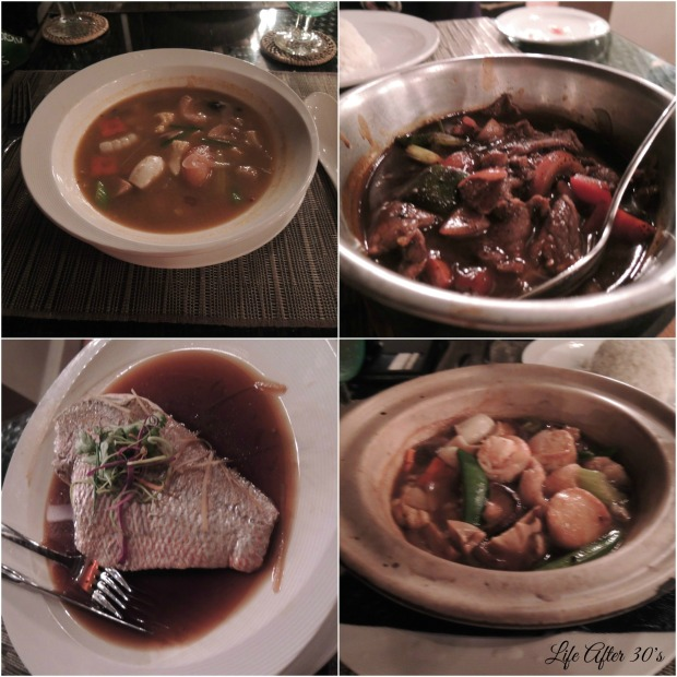 Dinner Day 1 Appetizer - Tomyam Soup; Mains - Beef Black Pepper & Steamed Fish; Vege - Beancurd with oyster sauce